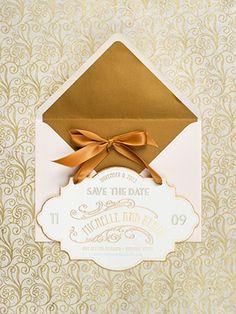 Elegant Gold Foil Save the Dates via @Oh So Beautiful Paper: http://ohsobeautifulpaper.com/2014/02/michelle-renzos-elegant-gold-foil-save-the-dates/   Design: @papellerie   Calligraphy: Abany Bauer of Brown Linen Design   Photo: @Adam M M M M M Nyholt #goldfoil #letterpress #wedding
