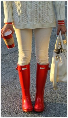 Cream on cream, striped long sleeve undershirt, her Hunter boots, and the diamond rings :: paired with red cup Starbucks
