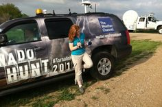 Danielle Banks preparing to record a tout video for the #tornadohunt team