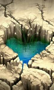 crack heart, broken rock, natur heart, heart pool, water heart, pond, mother nature, thing