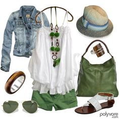 short, day outfits, color, green, summer outfits, jean jackets, shoe, summer clothes, hat