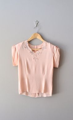 vintage 40s blouse / rayon 1940s blouse / First Blush blouse