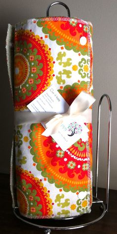 Reusable Cloth Paper Towel, Snap Towel Roll Eco Friendly - Funky Orange Green and Yellow on Sage Terry. Sew Happy, Designs by Abby R, via Etsy.