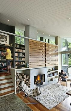 Library and living room