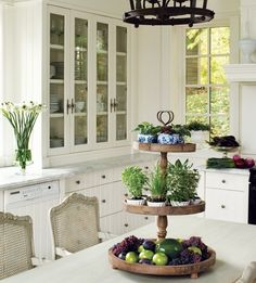 cabinets, plant, centerpiec, cake stands, french country, herbs garden, kitchen herbs, hous, country kitchens
