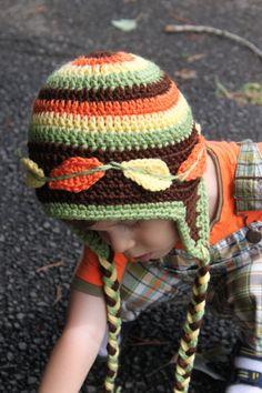Crochet Autumn / Fall Ear Flap Beanie Hat - $28.00