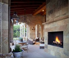 Beautiful stone fireplace, sitting and dining area
