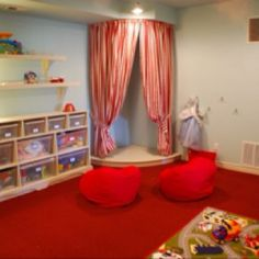 Playroom. Hula hoop curtain? love this idea but with floor pillows or bean bags for sitting under the curtain