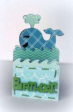 a whale-y cute invitation cut with the Cricut wild card 2 cartridge