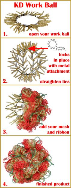 How-To on our KD Work Ball @Meg Taylor Tree  Work Ball will be available in 11 Colors! http://www.trendytree.com/wreath-making-supplies-work-wreaths-garlands-accessories/12-work-creations-ball-assorted-colors.html