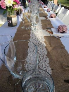 Burlap And Lace Rustic Table Runners $240