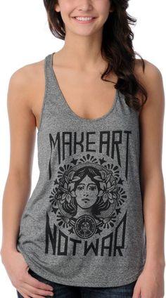 Obey Girls Make Art Not War Charcoal Heather Tank Top at Zumiez : PDP my-style