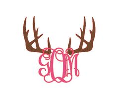 Vinyl Monogram with Antlers Decal on Etsy, $3.00
