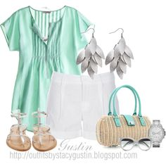 minty summer, created by stacy-gustin on Polyvore
