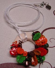 FALL LEAVES WREATH Polymer Clay Pendant Necklace by KatersAcres®