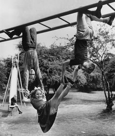 Monkey bar business: This girl from Finchley, North London, shows no fear of being dropped by her two friends as they play in 1954.