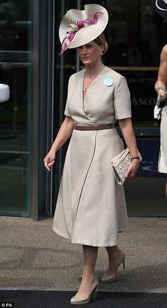 the Countess of Wessex in an elegant nude outfit on the second day of Royal Ascot, 2013