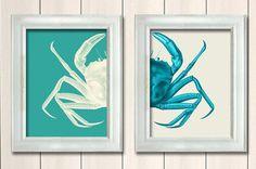 Set of 2 Crab Prints Turquoise And White ,Nautical Print Beach Decor bathroom Decor Nautical Decor Wall Art Beach House Decor Crab Picture