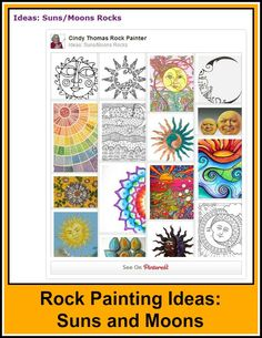 Ideas and inspiration for painting suns and moons on rocks and stones