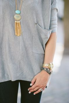 loose tops, sweater, arm party, outfit, fashion accessories, tassel necklac, casual looks, long necklaces, black