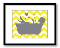 Bathroom Decor Bathroom Print Grey Girl Yellow in a Bathtub Tub Chevron Bathroom Art Wall Decor Modern Minimalist