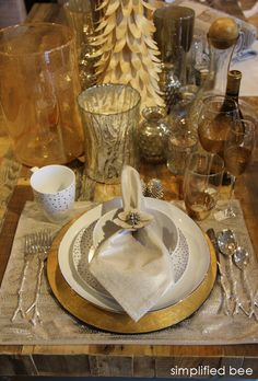 silver & gold holiday table-setting :: West Elm