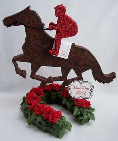jockey and horse kentucky derby centerpiece