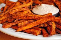 Sweet pot oven fries, with lime yogurt sauce