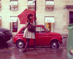 #car #red #dots #umbrella  #ridecolorfully