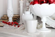 Craftberry Bush: A white Christmas mantel....