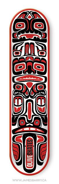 """Olive Skateboard Graphic """"Haida"""" by James P. Barry, via Flickr"""