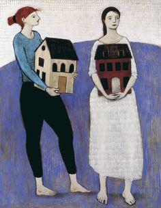 """Women Carrying Houses"" by Brian Kershisnik."