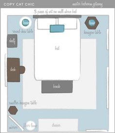 Copy Cat Chic - Master bedroom layout  Colors:  teal and gray, with furniture examples.