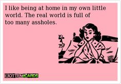 I like being at home in my own little world. The real world is full of   too many assholes.