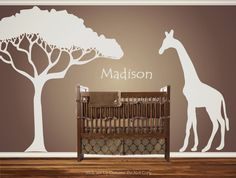 Personalized Custom Giraffe Animal Nursery Wall Decal Crib Name Baby Shower gift Idea Present  African Safari Nursery Theme Looking crib. $45.00, via Etsy.