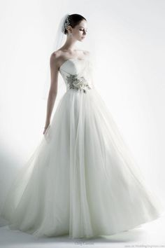 New strapless wedding gown from Oleg Cassini collection at David's Bridal