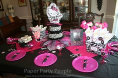 Printable DIY 2 inch Personalized Hello Kitty Rockstar Birthday Party Cupcake Toppers, Favor Bag Tags, Stickers, Confetti, Decor. $6.95, via Etsy.