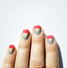#beauty #makeup #nails #manicure #art #geometrical #triangles #neon #nude #gray #neutrals #art