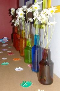 art birthday, art parti, water insid, color water, white roses