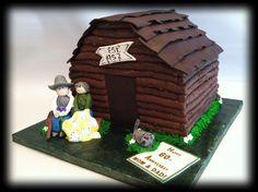 Log cabin 60th anniversary cake
