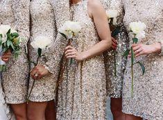 Sequin gold bridesmaids dresses | photography by http://tecpetajaphoto.com/