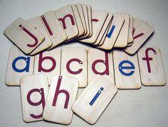 Mini LOWERCASE Sandpaper Letters on birch wood. $28.60, via Etsy.