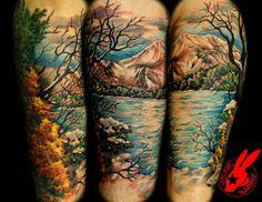 tattoo idea, mountain, bodi art, jacki rabbit, sleeve tattoos, tattoo sleeves, nature tattoos, funny memes, ink