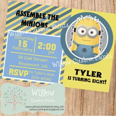 ASSEMBLE THE MINIONS Birthday Invitation Despicable Me Yellow Blue 5x7 or 4x6 {$9.00}
