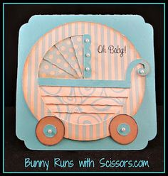 Baby card using Baby Bump stamps from www.ajillianvancedesign.com, Canvas Corp papers and SVG Cuts Iris fold cards fle.