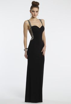 Camille La Vie Black Lattice Prom Dress with Beaded Straps
