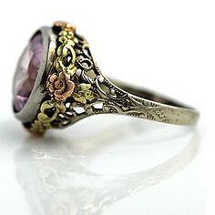 Antique 14 Kt Tri Tone Pink Zircon Engagement Ring Circa 1930's