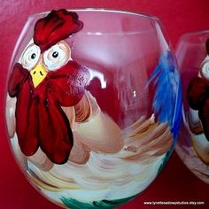 Large Rooster Wineglass  - Hand Painted and Dishwasher Safe