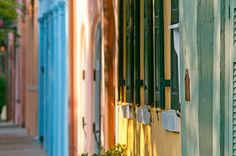 the colors of rainbow row in charleston, sc