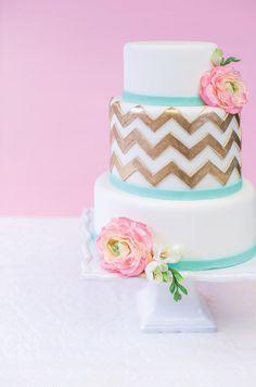 Turquoise and gold chevron cake. #modern #wedding #cake.